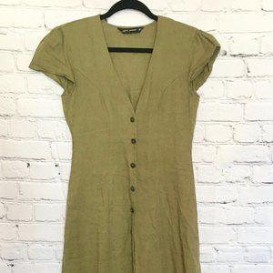 Zara Army Green Linen Button Front Long Dress XS